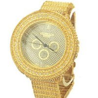 Totally Iced Out Pave Gold Tone Hip Hop Men's Bling Bing Watch-Over Size