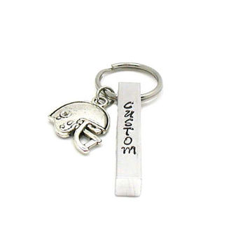 Football Keychain, Aluminum Bar Keychain, Personalized Keychain, Custom Keychain, Sports Keychain, Father's Day Gift, Hand Stamped Keychain