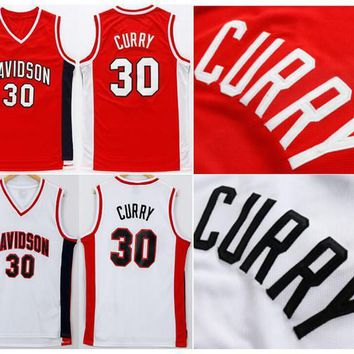 Davidson Wildcats 30 Stephen Curry College Jerseys Red White Men aedcd7d2ad