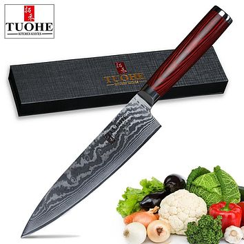 TUOHE 8 inch Chef Knife Japanese Professional Kitchen Knife VG10 Damascus knives meat cleaver kitchen tools rosewood handle
