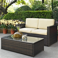 2 Piece Outdoor Patio Furniture Set with Loveseat and Glass Top Table