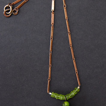 Petite Copper Dome Pendant with Glass Shere Dangle and Apple Green Peridot Heishi Accents on Delicate Vintage Copper Chain Metalwork Jewelry