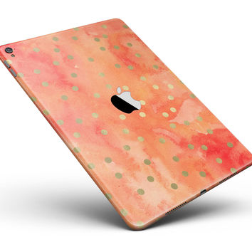"""Green Polka Dots Over Water Colored Fire Full Body Skin for the iPad Pro (12.9"""" or 9.7"""" available)"""