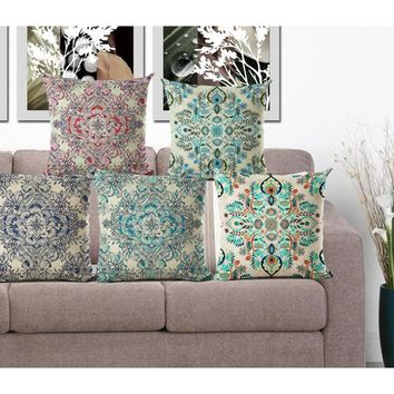 Nordic Flower Vintage Cushions Bohemian Colorful Geometric for Sofa Car Seat Luxury Home Decorative 45*45cm Throw Pillows HH050