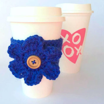Coffee Cozy, Crochet Coffee Cozy, Flower Coffee Cozy, Coffee Sleeve, Cup Cozy, Wood Button, Flower cup cozy, Coffee Cozy Sleeve, Coffee, Mug