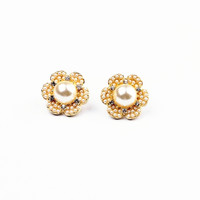 Golden Flower Shape Faux Pearl Earrings
