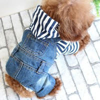 LAPLADOG Fashion Warm Denim Dog Clothes Jacket Pet Coat For Dogs Apparel Chihuahua Clothing Dog Supplies