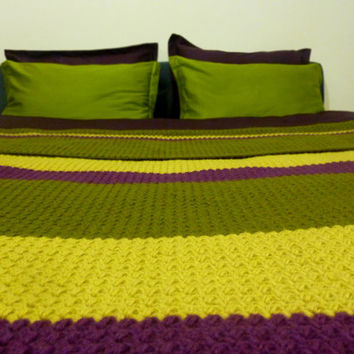 Hand Made Knitted Wool Blanket In Purple, Green And Yellow Colors / Striped