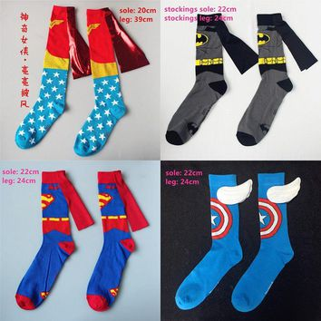 Batman Dark Knight gift Christmas Women Men Wonder Woman Captain American Batman Superman Costume Stockings Knee-High Socks Cosplay Cotton Calf Socks Sports Sock AT_71_6