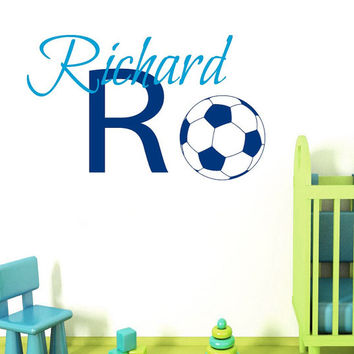 Wall Decals Vinyl Decal Sticker Interior Design Initial Monogram Custom Boy Personalized Name Soccer Player Kids Nursery Room Decor KT98