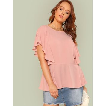 Layered Ruffle Trim Solid Top
