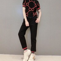 """Gucci"" Women Retro Casual Fashion Knit Multicolor Stripe GG Short Sleeve Trousers Set Two-Piece Sportswear"