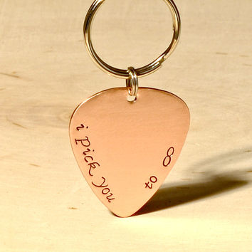 I Pick You to Infinity Copper Guitar Pick Keychain
