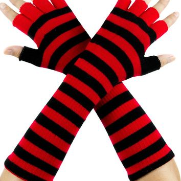 Red and Black Stripe Fingerless Gloves Arm Warmers Alternative Clothing