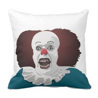 Cool Scared Clown Face Outdoor Pillow