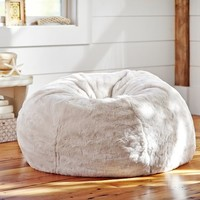 Ivory Polar Bear Faux Fur Beanbag