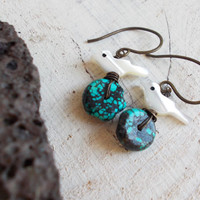 Vivid turquoise & mother of pearl dangle earrings, carved bird beads, teal black webbed stone discs, wire wrapped artisan jewelry