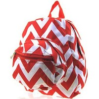 Chevron Small Kids Backpack Toddler Bag Purse Blue (Red)