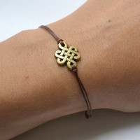 Infinity bracelet, brown cord bracelet with a bronze endless knot charm, Yoga bracelet, Tibetan chinese celtic knot, Buddhist