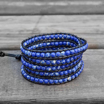 Leather Agate Bracelet Blue Agate Wrap Bracelet Beaded Bracelet Leather Wrap Bracelet 4mm Beaded Bracelet with Black Leather Cord