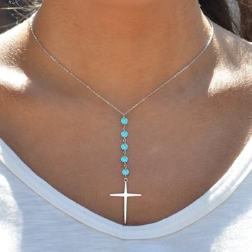 Genuine Turquoise Beaded Cross Necklace