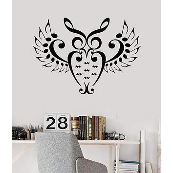 Vinyl Wall Decal Music Lover Owl Bird Notes Singer Nursery Musician Teenager Stickers Unique Gift (690ig)