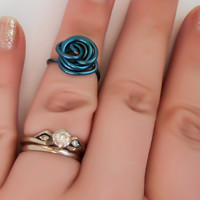 Rose Midi Ring, Blue Rose, Midi Ring, Midi Rings, Knuckle Ring, Modern Ring, Boho Jewelry, Fashion Ring, Wrapped Ring