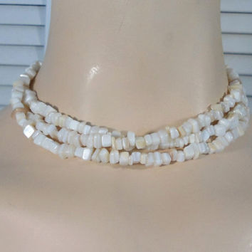 Extra Long Mother of Pearl Beaded Necklace Boho Bohemian Necklace Hippie Jewelry Multi Layer Gypsy Cowgirl Glam Choker