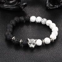 Kittenup 2016 New White and Black Silver Plated Leopard Charm Stone Beads Bracelets For Men Lava Matte Fashion Jewelry