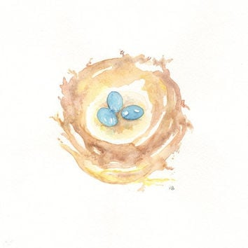 Nest with 3 blue eggs/ 5x7 Watercolor Print by kellybermudez