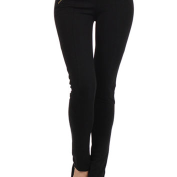 Solid Stitch Front Zipper Banded High Waist Skinny Tight Leggings