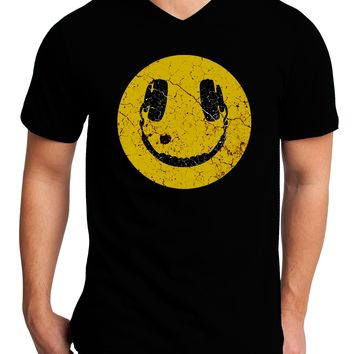EDM Smiley Face Adult Dark V-Neck T-Shirt by TooLoud