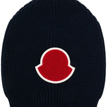 Navy Rib Knit Beanie by Moncler