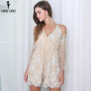 PEAP78W Missord 2017 Sexy  Off Shoulder Halter Half Sleeve Sequin  Playsuit  FT8412