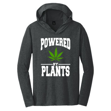 Powered By Weed Plants Tee | Tri-Blend Long Sleeve Hoodie T-Shirt