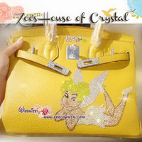 Swarovski / Czech Crystals - Genuine Leather Handbag with Stylish Tinker Bell - ZoeCrystal