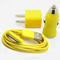 Gogo Surge Yellow Color USB Travel Kit with Car Charger, Wall Charger and USB SYNC Cable Adapter for Apple iPod & iPhone (ANY MODEL)
