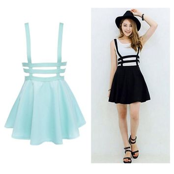 3 Colors Mini Suspender Free Size  High Waist Sleeveless Casual Dress