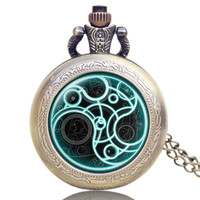 Vintage Bronze Doctor Who Necklace Quartz Pocket Watch Women Mens Watch