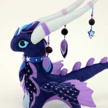 Soft toy Night Dragon fantasy plush Made to order animal textile toys Soft sculpture children, fabric toy, handmade, favorite toy