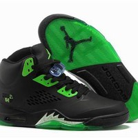 Hot Air Jordan 5 Retro Women Shoes Black Green
