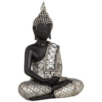 Black and Silver Sitting Buddha Sculpture - #W8232 | LampsPlus.com