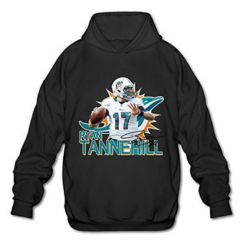 M07H Men's Sweater Ryan Tannehill 17 # Miami Dolphins Team Logo Black Size XXL