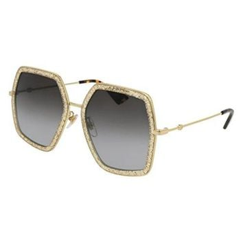 Gucci GG0106S 005 Gold GG0106S Square Sunglasses Lens Category 2 Size 56mm