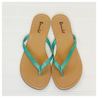 Forever Faithful Classic Strap Mint Flip Flops, Sandals