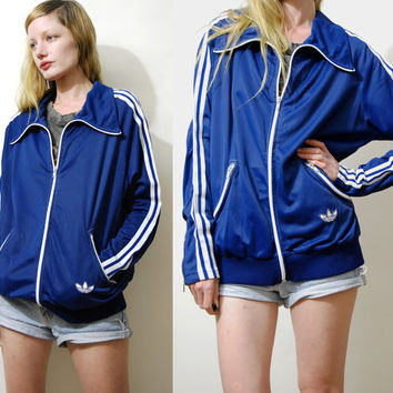 Classic ADIDAS Jacket 70s Vintage Old School Adidas Silky Sports Jacket Three Stripe Adidas Sweatshirt Track Jacket 1970s vtg