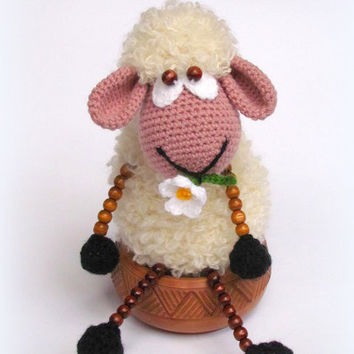 Hand crocheted toy,Crochet sheep toy,Crochet sheep doll, Sheep toy, Crocheted toy, Amigurumi doll,