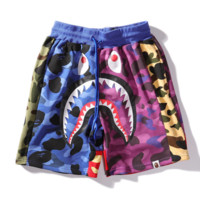 Bape Aape New fashion shark print contrast color camouflage shorts
