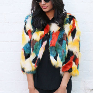 Cropped Length Patchwork Fur Coat in Multi