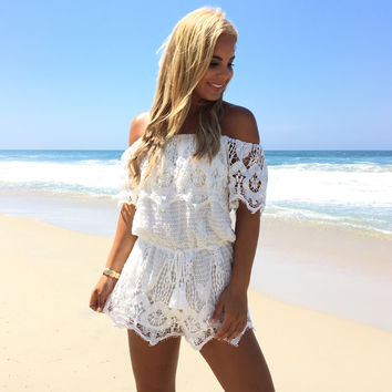Lounge In Lace Romper In Ivory